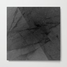 Dark Grey Matte Black Marble Metal Print