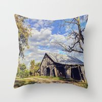 kentucky Throw Pillows featuring Kentucky Barn by JMcCool