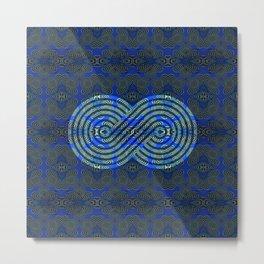 Feng Shui Symbol Royal Blue & Moss Green Medallion Print Metal Print