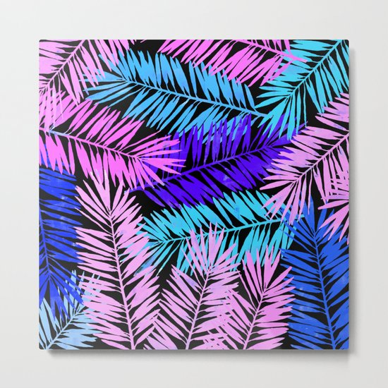 Colorful Tropical Palm Leaves Metal Print