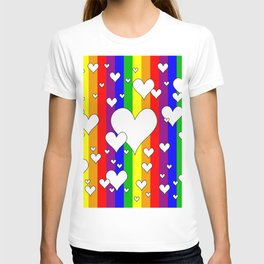 Gay flag with the colors of the rainbow with hearts T-shirt