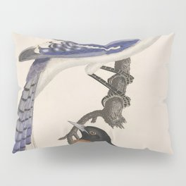 Blue jay, goldfinch, and Baltimore oriole - American ornithology - ALexander Wilson - 1829 Pillow Sham