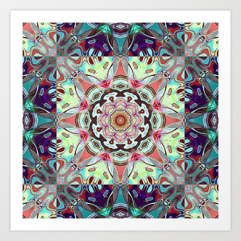 Colorful Shapes Mandala Art Print
