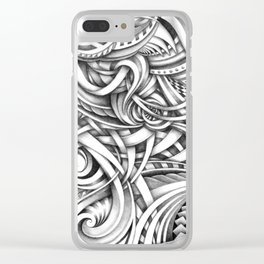 Escher Like Abstract Hand Drawn Graphite Gray Depth Clear iPhone Case