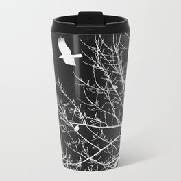 Crows Flying Over Trees Negative Silhouette Metal Travel Mug