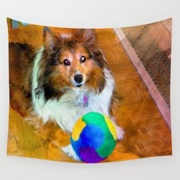 Sheltie with Ball Wall Tapestry
