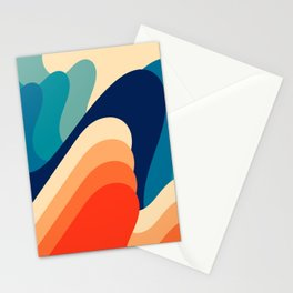 Retro 70s and 80s Abstract Art Mid-Century Waves  Stationery Cards