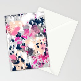 Nico - Abstract painting in modern fresh colors navy, mint, pink, cream, white, and gold Stationery Cards