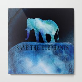 Save The Elephants Watercolor Painting Metal Print