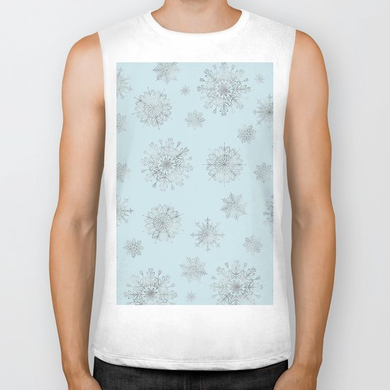 Assorted Silver Snowflakes On Light Blue Background Biker Tank