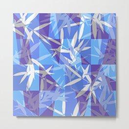 Bamboo in Blue Geometric Pattern Metal Print