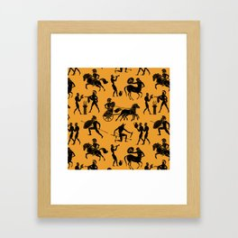 Greek Figures // Orange Framed Art Print