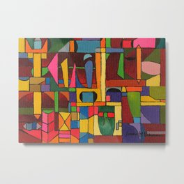 Colors In Collision 1 - Geometric Abstract of Colors that Clash Metal Print