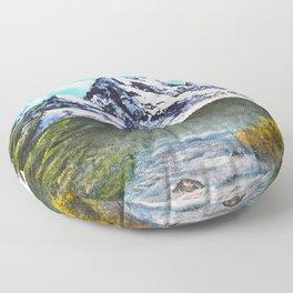 Bob Ross Art - Mountain Art Floor Pillow