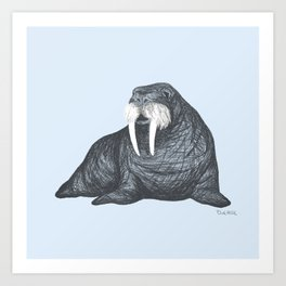 Frank Wallace in Blue | Nursery Art Walrus Drawing Art Print