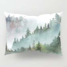 Watercolor Pine Forest Mountains in the Fog Pillow Sham
