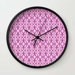Mod Geometric Floral in Pink Wall Clock