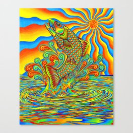 Psychedelic Rainbow Trout Fish Canvas Print