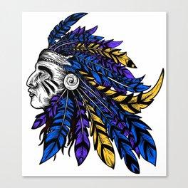 American Native Chieftain Head Canvas Print