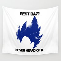 vegeta Wall Tapestries featuring Vegeta - Rest? Never Heard of it. by luvusagi