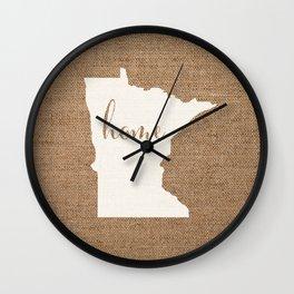 Minnesota is Home - White on Burlap Wall Clock
