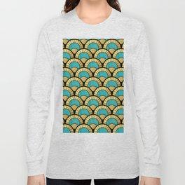 Duck Egg Green Art Deco Fan Pattern Long Sleeve T-shirt