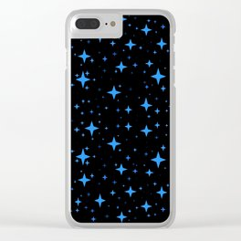 Bright Blue  Stars in Space Clear iPhone Case