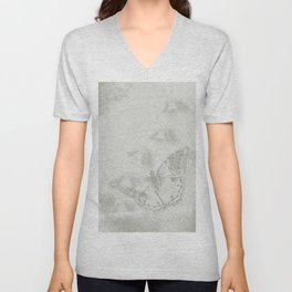 delicate butterflies and textured chevron pattern Unisex V-Neck