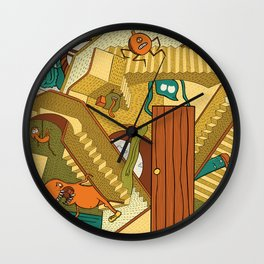 Monsters on Stairs Wall Clock