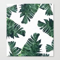 Canvas Prints featuring Banana Leaf Watercolor Pattern #society6 by 83 Oranges™