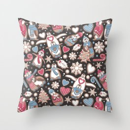 Penguin Christmas gingerbread biscuits Throw Pillow