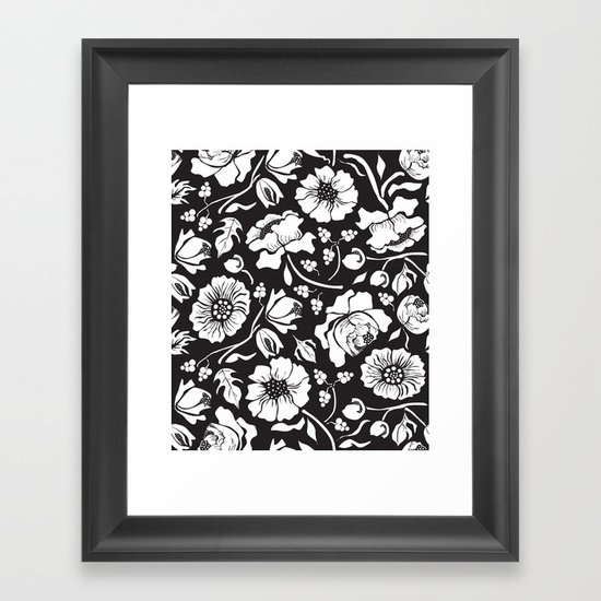 Black Russian Floral Framed Art Print