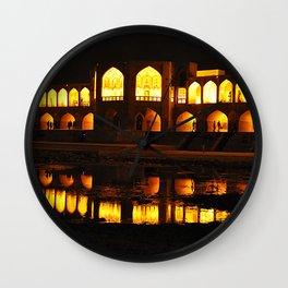 Persian Architecture Si-o-se-pol bridge at Night, Isfahan, Iran Wall Clock