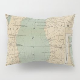 Vintage Lake Michigan Lighthouse Map (1898) Pillow Sham
