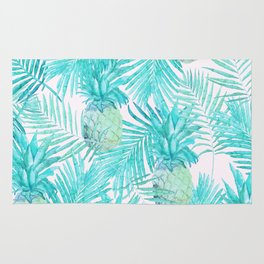 Turquoise Palm Leaves and Pineapples on Pink Rug