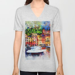 Watercolor painting pier Unisex V-Neck