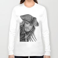 jack sparrow Long Sleeve T-shirts featuring Captain Jack Sparrow by Celeste Roddom