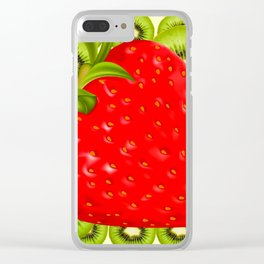 GREEN KIWI & RED STRAWBERRY ART Clear iPhone Case