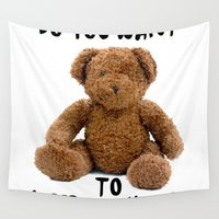 teddy bear Wall Tapestries featuring teddy bear by ulas okuyucu