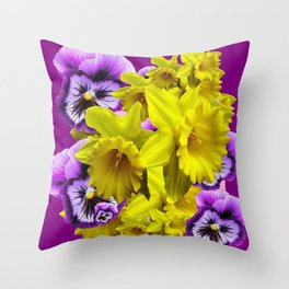 YELLOW SPRING DAFFODILS & LILAC PANSIES COLOR ART Throw Pillow