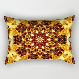 Bright Yellow Brown Abstract Blossom Kaleidoscope Background Rectangular Pillow