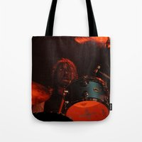 dave grohl Tote Bags featuring dave grohl by Hattie Trott