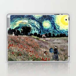 Monet's Poppies with Van Gogh's Starry Night Sky Laptop & iPad Skin