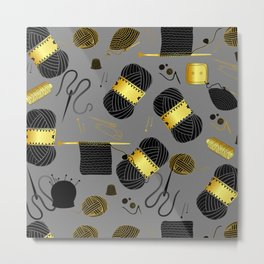 Gold and Black yarn Metal Print