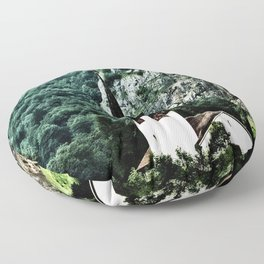Surrounded by Mountains Floor Pillow
