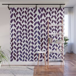 Cute watercolor knitting pattern - puple Wall Mural
