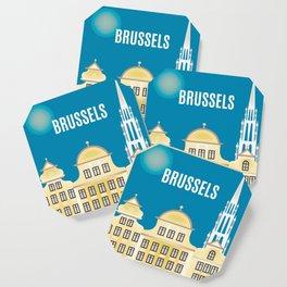 Brussels, Belgium - Skyline Illustration by Loose Petals Coaster