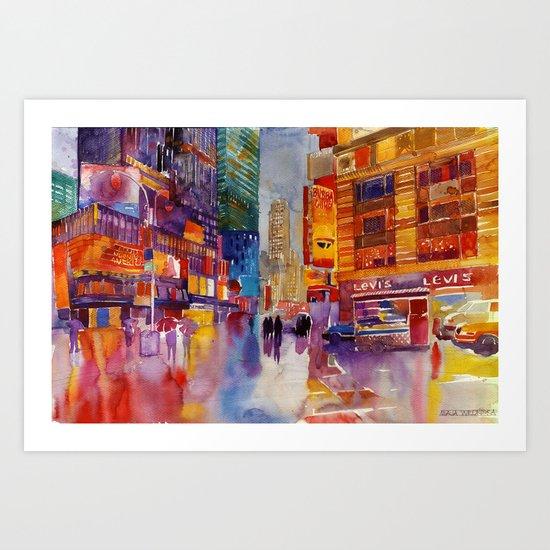 Walk in New York Art Print