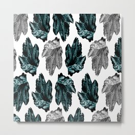turquoise and grey crystal pattern Metal Print