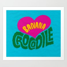 Banana Love and the Crocodile  Art Print